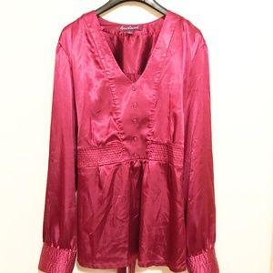 Gloria Vanderbilt XL Fushia Long Sleeve Tie Back